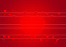 Red stave with hearts notes Stock Photography