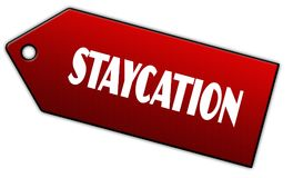 Red STAYCATION label. Illustration graphic design concept image royalty free illustration
