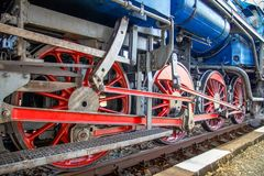 Steam locomotive wheels. Royalty Free Stock Photography