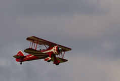 Red Stearman on take-off Royalty Free Stock Photography