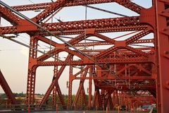 Red steel bridge Stock Photo