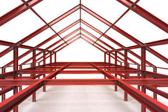 Red steel complex framework building indoor perspective view Stock Image