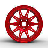 Red steel disks for a car 3D illustration Royalty Free Stock Photo