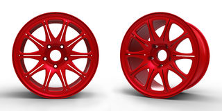 Red steel disks for a car 3D illustration Royalty Free Stock Image