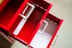 Red steel drawer for documents. stock photography