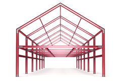 Red steel framework building front perspective view Royalty Free Stock Photo