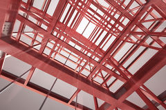 Red steel framework building indoor blurred view rendering Stock Photography
