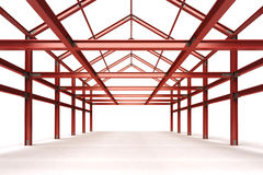 red steel framework building indoor perspective view Royalty Free Stock Photography