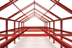 Red steel framework building indoor perspective view Royalty Free Stock Images
