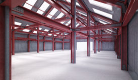 Red steel framework building indoor perspective view Stock Images