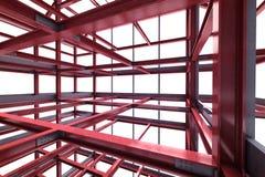 Red steel framework building indoor perspective view rendering Stock Photography