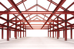 red steel framework building interior perspective view Stock Images