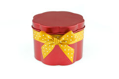 Red steel gift box Stock Photography
