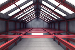 Red steel industrial building indoor perspective view Stock Images