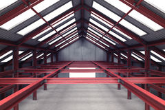 Red steel industrial building interior perspective view Stock Images