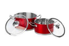 Red steel pans Stock Images