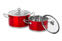 Red steel pans Royalty Free Stock Photography