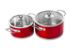 Red steel pans Royalty Free Stock Photos
