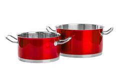 Red steel pans Stock Image