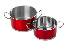 Red steel pans Stock Photography