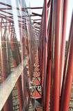 Red steel pillars. Of a bridge Royalty Free Stock Images
