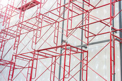 Red steel structure. At construction site Stock Photos