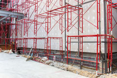 Red steel structure. At construction site Royalty Free Stock Photography