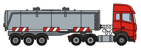 Red steel tank semitrailer. Hand drawing of a red towing truck with the steel tank semitrailer Stock Photos