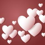 red steg Pappers- hjärtor för abstrakt begrepp Förälskelse Royaltyfri Bild