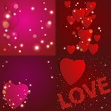 red steg Pappers- hjärtor för abstrakt begrepp Förälskelse vektor för valentin för bakgrundshjärtaillustration stock illustrationer