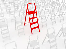 Red stepladder Stock Photo