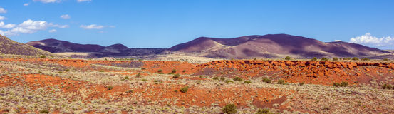 Red steppe and hills Stock Photos