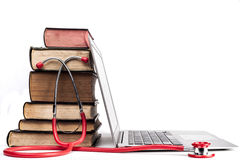 Red Stethoscope and Books Royalty Free Stock Photography