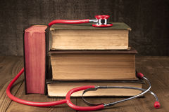 Red Stethoscope on Books Royalty Free Stock Photography