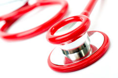 Red stethoscope Stock Photo