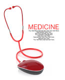 Red stethoscope with computer mouse Royalty Free Stock Photos