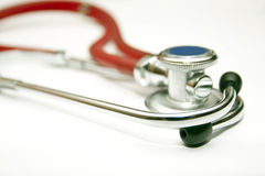 Red stethoscope of the doctor Royalty Free Stock Photos