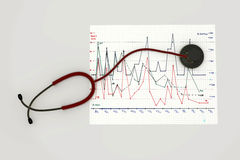 Red stethoscope Royalty Free Stock Photo