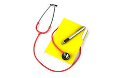 Red stethoscope with folder and  pen Royalty Free Stock Photography