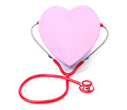 Red stethoscope with Gift box shape heart Stock Image