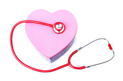 Red stethoscope with Gift box shape heart Royalty Free Stock Image