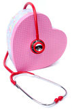 Red stethoscope with Gift box shape heart Stock Photos
