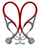 Red Stethoscope Heart. Stethoscopes overlaid in the shape of a heart Stock Images