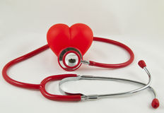 Red stethoscope and red heart. Red stethoscope with red heart Stock Images