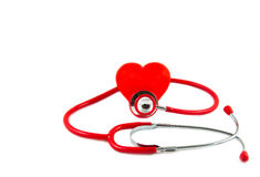 Red stethoscope with red heart Royalty Free Stock Photography