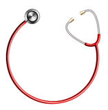 Red Stethoscope In Shape Of Circle on White Stock Images