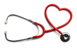 Heart Stethoscope. Red Stethoscope in Shape of Heart Isolated On White Background Stock Images
