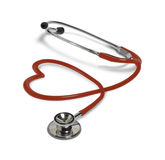 Red stethoscope in shape of heart Stock Images