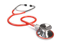 Red Stethoscope  on white Royalty Free Stock Image