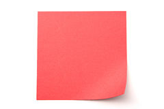 Red stick note on white background Royalty Free Stock Photos